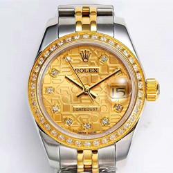 N厂手表 劳力士 179171-63131 女装日 志型系列价格 黄金镶钻 腕表 定制款