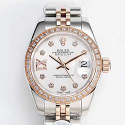 N厂 劳力士 279381RBR 女装日志型系列 28系列价格 白盘 玫瑰金镶钻腕表 最高品质版本