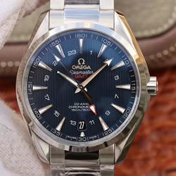NOOB厂 欧米茄  海马系列复刻手表价格 150米 231.10.43.22.03.001 蓝面 双时区 GMT 最高品质版本