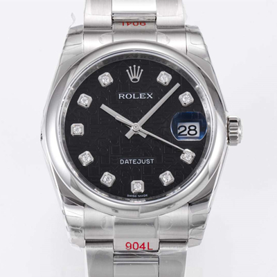 Rolex 劳力士 Datejust 日志型 36MM黑色念花纹表盘 镶钻 NOOB厂定制版
