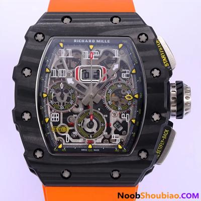 NOOB手表 里查德米尔 RM011-03NTPT 碳纤维 橘黄色胶带 复刻手表价格 最高版本